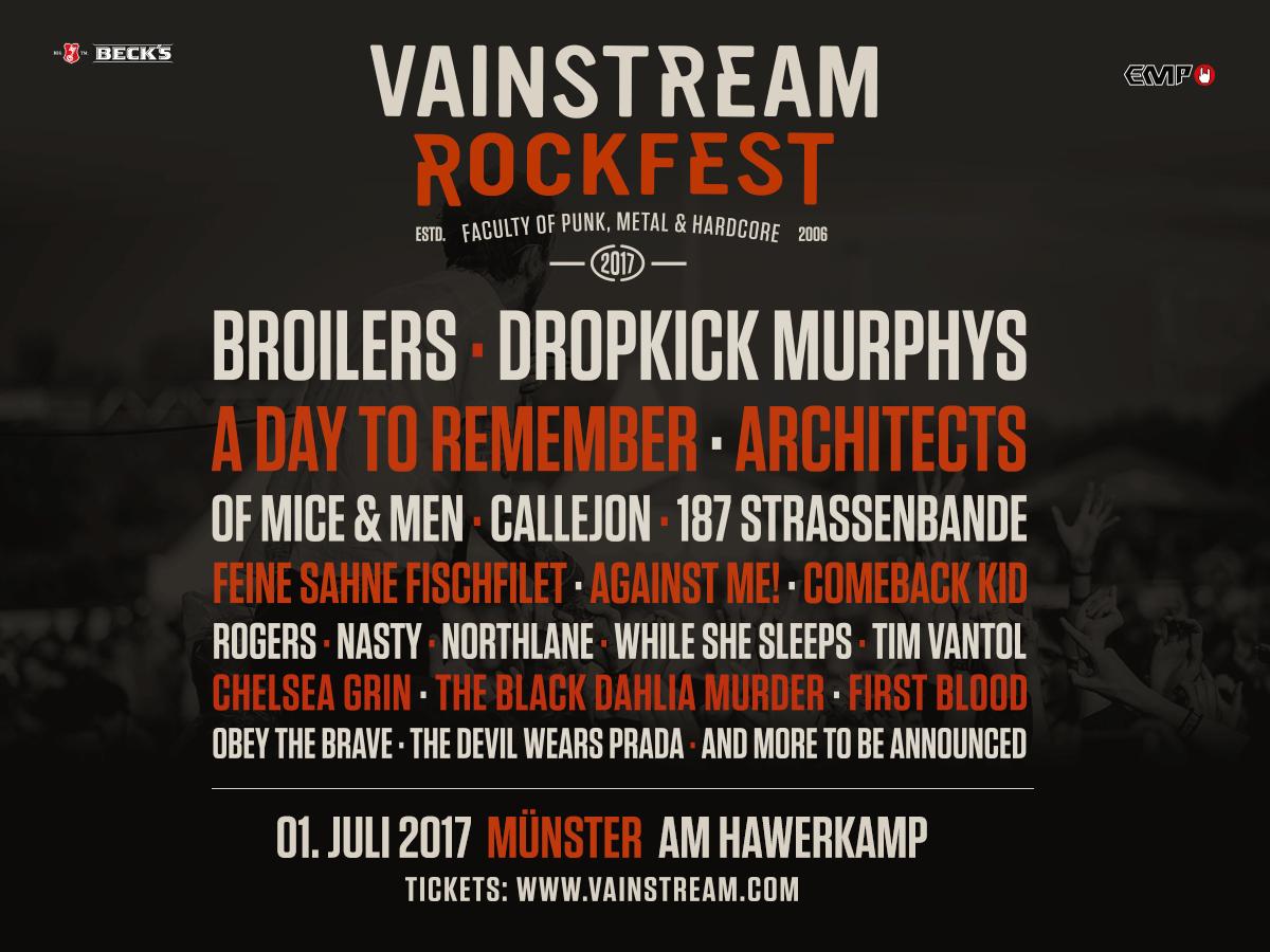 VAINSTREAM ROCKFEST 2017 - BROILERS als Headliner bestätigt