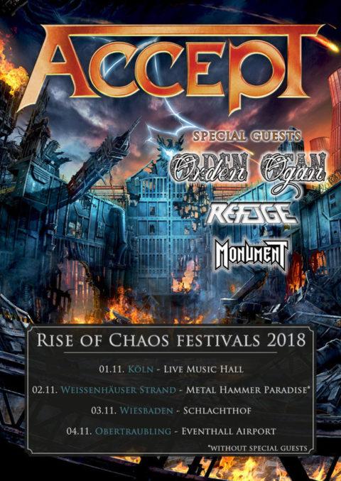 "ACCEPT – ab November auf ""Rise Of Chaos Festivals 2018""!"