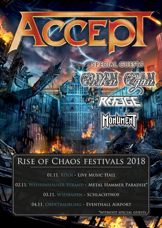 "ACCEPT - ab November auf ""Rise Of Chaos Festivals 2018""!"
