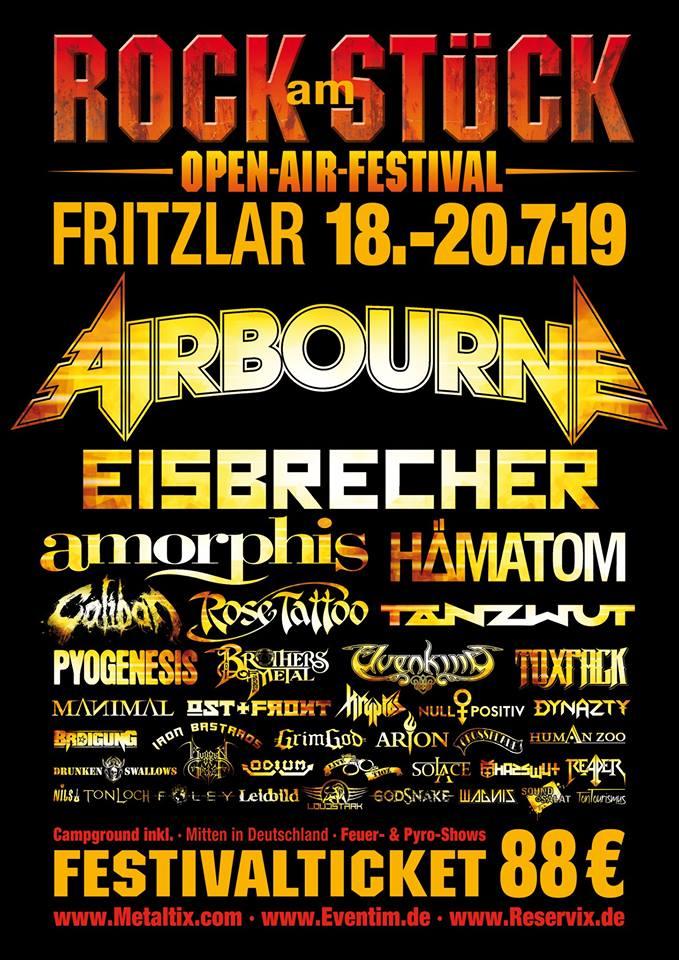 rock am stück - Rock am Stück 2019: Airbourne als Headliner für Samstag bestätigt