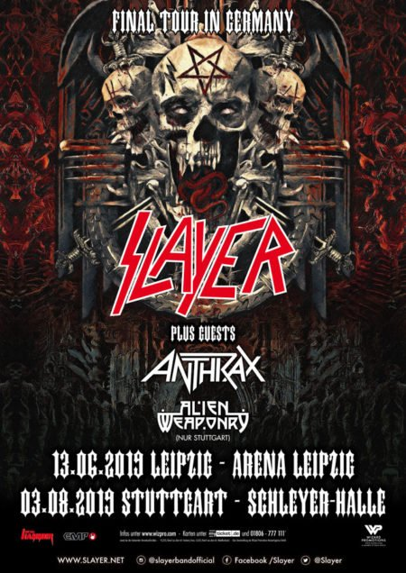 SLAYER Final Tour In Germany 2019 - der Abschied rückt näher