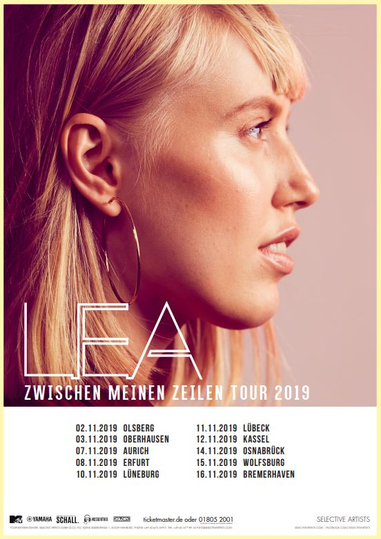 """Die Musikiathek präsentiert: LEA kommt im Herbst 2019 auf """"Zwischen meinen Zeilen"""" Tour - Part 2"""