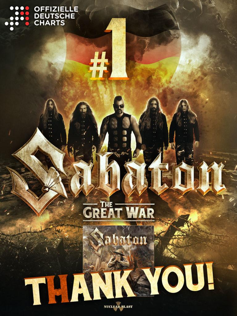 """SABATON - """"The Great War"""" steigt auf Platz 1 der deutschen Charts ein"""