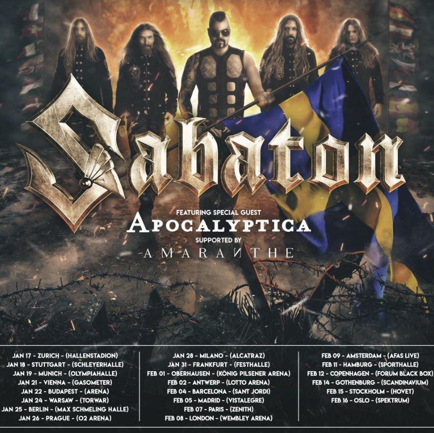 """SABATON kündigen Europa-Daten von """"The Great Tour"""" an und veröffentlichen ihre Single """"Great War"""""""