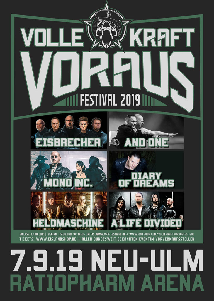 Eisbrecher laden ein: Volle Kraft Voraus Festival am 7.9.2019 in Ulm, Ratiopharm Arena