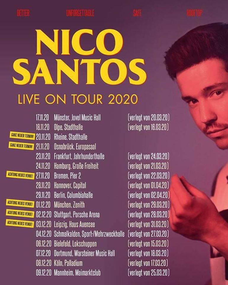 """Verschiebung der Nico Santos """"Live on Tour 2020""""-Tournee in den November 2020"""